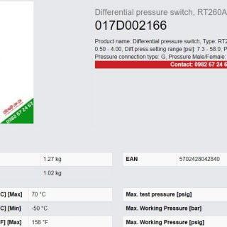 Catalog công tắc chênh áp Danfoss RT260A