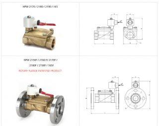 Ký hiệu kích thước van điện từ HPW