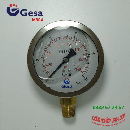 Đồng hồ áp suất Gesa M0304 Φ100R10BAR chân đồng thẳng