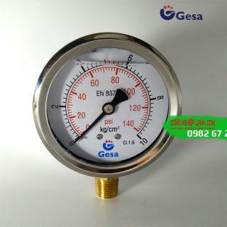 Đồng hồ áp suất Gesa M0301 Φ63R-10bar chân đồng thẳng
